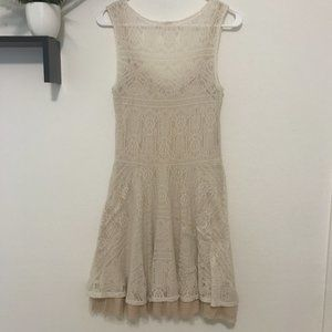 Free People Lace Ivory Skater Dress w/ Tulle